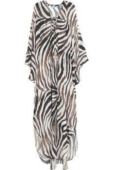 Melissa Odabash Coleen zebra-print chiffon kaftan | NET-A-PORTER