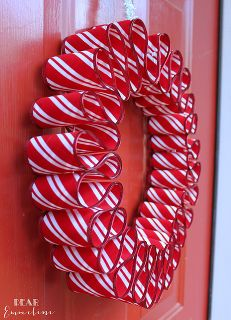 Easy 4 Step Ribbon candy wreath ! Maybe add small red or white Christmas balls or beads between each loop for more front view impact as well.