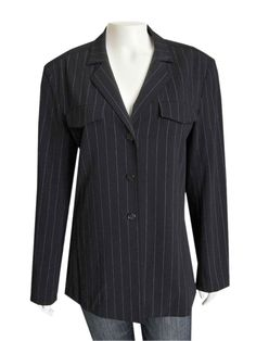 Escada Black Pinstriped Wool Gabardine Jacket size 38 This gorgeous Escada jacket is made out of a light weigh wool blend gabardine material, and comes in a classic black and white pinstriped pattern. Styling includes a relaxed fit with folded collar and notched lapels...  #Escada #EscadaClothing #EScadaJackets #Black #Pinstripe #wool #Authentic #GentlyUsed #PreOwned #Used #designer #Consignment #Resale #ForSale #Sale #OnSale