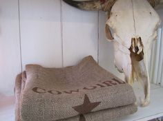 Cowboy  Cowgirl burlap pillow covers...very cute for a Texas themed room :)