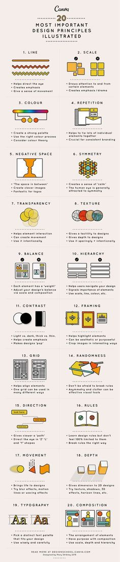 This article will take you through 20 principles of design to hopefully give you a headstart in this creative environment. If you like UX, design, or design thinking Layout Design, Design De Configuration, Graphisches Design, Logo Design, Graphic Design Tips, Graphic Design Inspiration, Design Elements, Graphic Designers, Design Basics