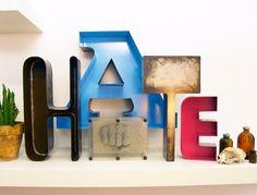 Letters vintage style  HATE sheet metal welded by Neighbourhook, €250.00