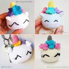 unicornios tejidos por lectoras del blog Cute Crochet, Crochet Crafts, Crochet Dolls, Crochet Yarn, Crochet Projects, Crochet Mermaid, Crochet Unicorn, Crochet Keychain, Crochet Animals