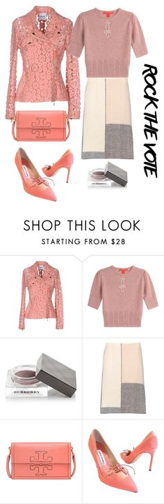 """""""Rock the vote in pink"""" by subvilli ❤ liked on Polyvore featuring Moschino Cheap & Chic, Burberry, Marni, Tory Burch, Manolo Blahnik, ToryBurch, tommyhilfiger, contestentry, polyvorefashion and rockthevote"""