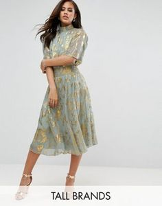 Y.A.S Tall High Neck Skater Dress With Gold Foil Print