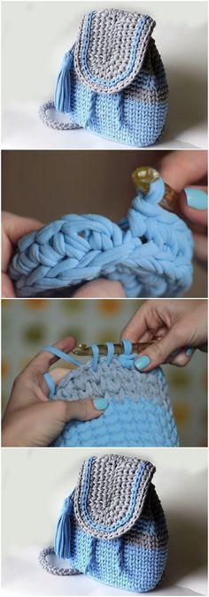 Learn To Crochet Beautiful Backpack - ilove-crochet Love Crochet, Crochet Gifts, Learn To Crochet, Easy Crochet, Knit Crochet, Beautiful Crochet, Crochet Handbags, Crochet Purses, Crochet Bags