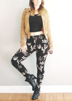 Cactaceae Legging Black and Cream Cactus legging by SimkaSol