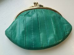 Vintage Mint Green Eel Skin Clam Shaped Mini Clutch/Oversized Coin Purse by ItsallforHim on Etsy