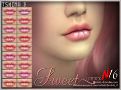 The Sims Resource: Sweet Lipstick by tsminh_3 • Sims 4 Downloads