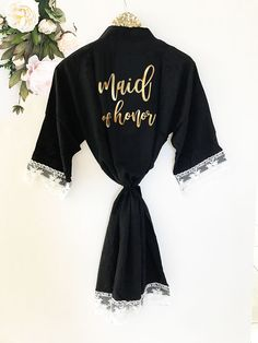 Bridal Party Soft Cotton Lace Robes - Mother of Honor Wedding Dress Hanger d37d218487d3