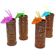 TIki mugs and umbrella drinks.