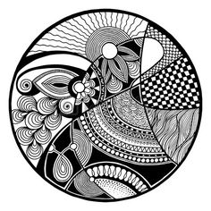 Illustration of Black and white abstract zendala on circle, relax and meditation zentangle art, monochrome vector illustration vector art, clipart and stock vectors. Mandala Doodle, Mandala Art Lesson, Mandala Artwork, Doodle Doodle, Doodle Art Drawing, Zentangle Drawings, Mandala Drawing, Art Drawings, Zentangles