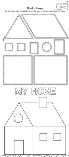 **FREE** House Scissor Practice Worksheet. Practice scissor skills by building a house in this printable worksheet.