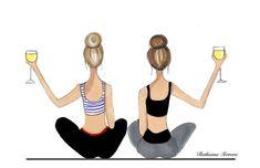 Yoga with Wine Print Best Friends print Blonde Best Friend Yoga Friends, Best Friends, Funny Yoga Pictures, Yoga Cartoon, Pranayama, Yoga Illustration, Pilates, Buddy Workouts, Bob Marley