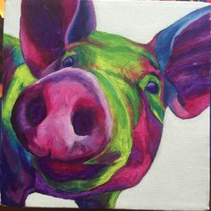 Abstract Pig Painting Square 6x6 Canvas by GintziBee on Etsy