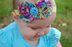 20% off 1st order...Rainbow Shabby Bow.  Baby Bow.  Baby Headband.  Newborn Headband.  Infant Headband.  Photo Prop. Girl Headband. on Etsy, Sold