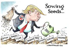 Dave Granlund cartoon on sowing the seeds of hot topic issues in 2016.