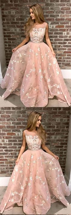 Stylish A-Line Round Neck Pink Prom Dress with Lace Appliques Online OKA44 #pink #aline #lace #appliques #long #prom #okdresses