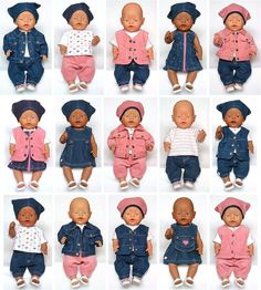 All Clothes and Variations Sewing Doll Clothes, Doll Clothes Barbie, Crochet Doll Clothes, Baby Born Clothes, Bitty Baby Clothes, Small Baby Dolls, Cute Baby Dolls, Doll Dress Patterns, Doll Sewing Patterns