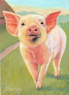 watercolor pig in blaket - Google Search