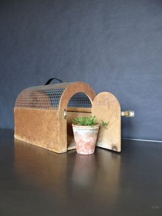 I presume it is a chicken carrier wood and wire structure with a side door. Very charming addition to your home decor. The long planks are Woodworking Guide, Custom Woodworking, Woodworking Projects Plans, Teds Woodworking, Wire Crate, Country Farmhouse Decor, Side Door, Planks, Vintage