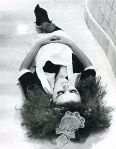patricia quinn between takes, the rocky horror picture show, 1975, photo by mick rock (from a personal collection.)