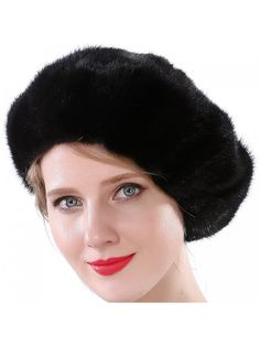 Women Winter Berets Real Mink Tail Fur Hat - Black (No Elasticity) -  C6185XRRR6N ff33bc1ea95d