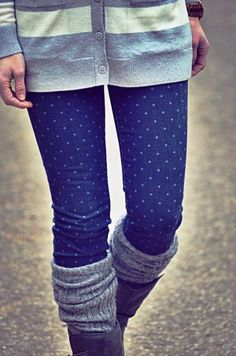 Comfy Cardigan With Polka Dots Jeans,Leg Warmers and Long Boots