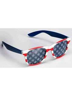 Celebrate the USA in these patriotic glasses featuring a red and white striped design, blue arms, and blue lenses with a white star design. Patriotic Glasses, Red White and Blue Glasses, Stars and Stripes Glasses Black Friday Toy Deals, Best Black Friday, Blue Sunglasses, Wayfarer Sunglasses, Red And White Stripes, Red White Blue, Patriotic Costumes, Wholesale Halloween Costumes, Masks For Sale
