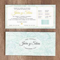 """Invitación de boda """"Billete Caribe""""                                                                                                                                                                                 Más"""