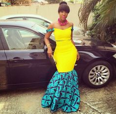 Ankara Combination Long Gown Style  See More >>> http://www.dezangozone.com/2015/04/ankara-combination-long-gown-style.html