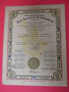 May 1937 Boy Scouts Of America Certificate Elements Of Scout Leadership Part 1.  #boy #scouts #America #certificate #leadership #Suffolk #council #May #1934
