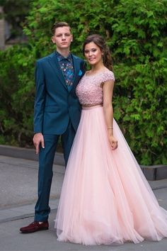 Romantic Two Pieces Prom Party Dress Scoop Cap Sleeve Beading Pink Tulle Blush Pink Prom Dresses, Winter Prom Dresses, Pink Tulle, Prom Party Dresses, Formal Dresses, Orange Blush, Purple Grey, Prom Dresses Online, Two Pieces