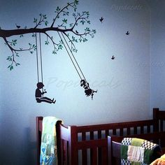 custom for Jenn Ebling - Children play swing - Vinyl Wall Decals Stickers