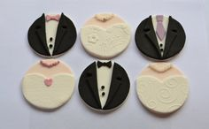 Bride & Groom Fondant Cupcake Toppers for Wedding Cakes/Hen Party Cupcakes