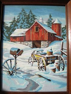 Vintage 1960's Paint by Number Winter Red Barn by TheIDconnection, $48.00