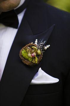 Birds of a Feather Nest Boutonniere Groomsmen Boutonniere, Corsage And Boutonniere, Groom And Groomsmen, Wedding Boutonniere, Groom Suits, Groom Attire, Boutonnieres, Wedding Flower Arrangements, Flower Bouquet Wedding