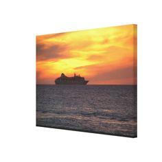 aruba, a ship on the evening horizon, sunset