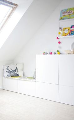 IKEA Besta storage in an attic Kids Playroom Ideas Attic Besta IKEA storage Ikea Hack Kids, Hacks Ikea, Ikea Kids Room, Kid Playroom, Playroom Ideas, Ikea Storage, Bedroom Storage, Toy Storage, Storage Cabinets