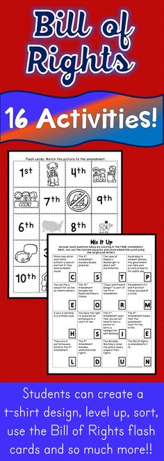 The Bill of Rights activities are unique and visually appealing. This is the perfect resource to study the U.S. Constitution and the Bill of Rights. Students can create a t-shirt design, level up, use the Bill of Rights flash cards and so much more!! There are 16 fun Bill of Rights Activities included!