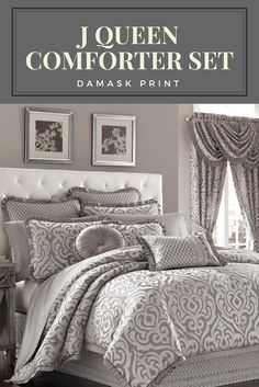 This J Queen Comforter Set is pretty and something I think hubby will like too. #bedding #affiliate