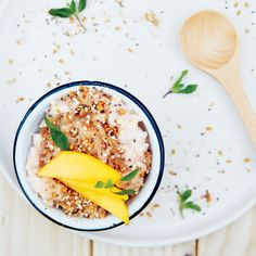 Ginger adds unexpected heat and zing to this coconut rice pudding; the crunchy topping lends a welcome texture contrast.