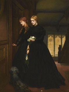 For the Last Time, oil on canvas by Emily Mary Osborn, British painter of the Victorian Era. Quite a few of her paintings show women in a time of stress or discomfort. Obviously, these two women are in mourning and delivering lilies to the dead. Victorian Paintings, Victorian Art, Victorian Outfits, Victorian Shoes, Victorian Kitchen, Victorian Interiors, Victorian Terrace, Victorian Furniture, Victorian Steampunk