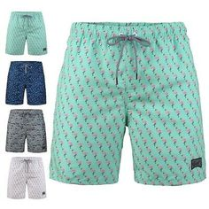 Polyester Rabbit and Fluffy Plush Bear Pattern Board Shorts with Pockets Mens 3D Printed Beach Shorts