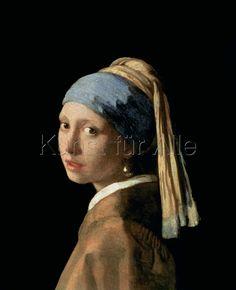 barbarasangi  from : Jan Vermeer van Delft - Das Mädchen mit dem Perlenohrring, c.1665-6 - digitaler Kunstdruck, individuelle Kunstkarte