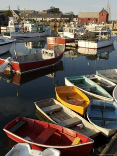 Lobster Fishing Boats and Row Boats in Rockport Harbor, MA
