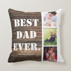 Rustic Wood Photo Collage Family Gift for Dad Throw Pillow - tap, personalize, buy right now! #ThrowPillow #rustic, #wood, #photo #collage, #family, Personalised Gifts Unique, Personalized Pillows, Custom Pillows, Decorative Pillows, Family Gifts, Gifts For Dad, Daddy Gifts, Happy Fathers Day, Fathers Day Gifts