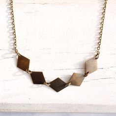 Diamond Bunting Necklace... Vintage Brass Gold Geometric Pendant.