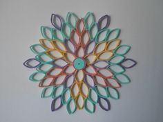 Items similar to Dahlia wall hanging Yellow Coral Purple Seafoam Wall art Bedroom Livingroom Wall decoration Modern home decor on Etsy Toilet Paper Roll Art, Toilet Paper Roll Crafts, Paper Quilling Designs, Quilling Patterns, Quilling Flowers, Paper Flowers Diy, Colorful Playroom, Playroom Colors, Flower Artwork