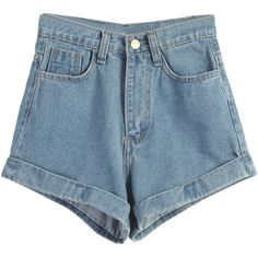 Light Blue High Waist Roll Hem Denim Shorts ($27) ❤ liked on Polyvore featuring shorts, bottoms, high-waisted jean shorts, highwaist shorts, high rise jean shorts, denim short shorts and rolled denim shorts